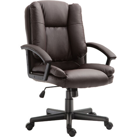 HOMCOM Office Chair PU Leather Swivel Executive Armchair PC Desk Computer Seat Height Adjustable (Brown)