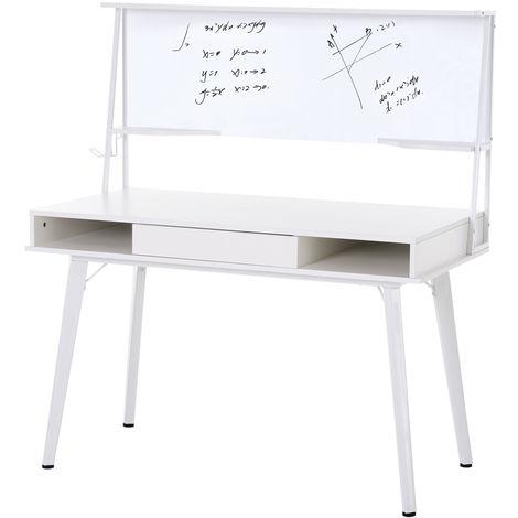 HOMCOM Office Desk & Whiteboard Duo Workstation w/ Drawers Storage White