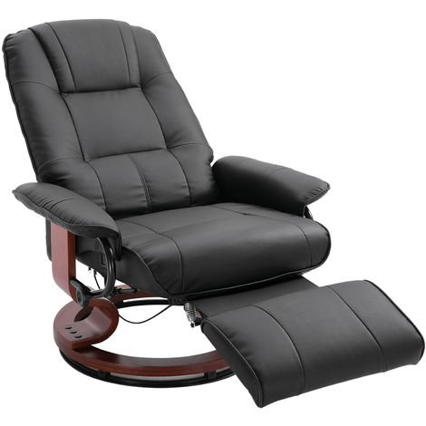 HOMCOM Office Recliner Sofa Chair Plush Armchair Lounger 360° Rotating Black