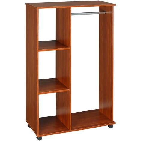HOMCOM Open Wardrobe with Hanging Rail and Storage Shelves
