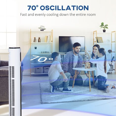 Homcom Oscillating Tower Fan 3 Speed Modes Cooling Machine w/ Remote Control