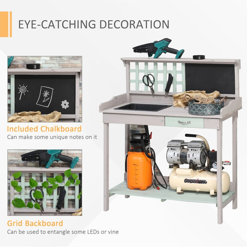 Lakewood 3 Person Swing, Homcom Outdoor Potting Table Bench Workstation Plants Flowers Herbs W Sink Ukb41 0060331