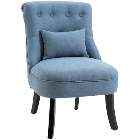 HOMCOM Padded Armless Chair w/ Wood Legs Extra Pillow Button Tufting Blue