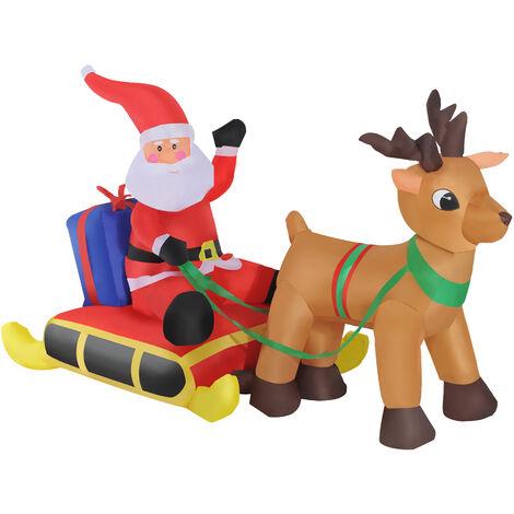 HOMCOM Papa Noel con Reno Hinchable + Inflador y Luz LED Decoracion Navidad Inflable