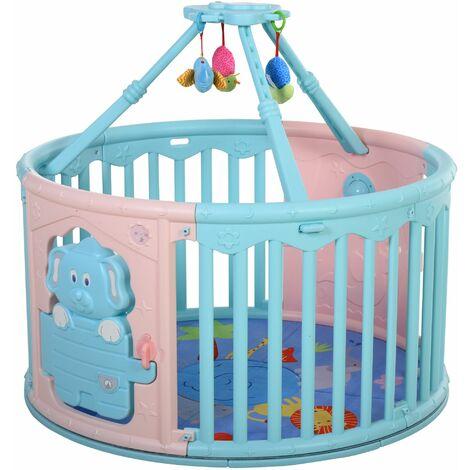 HOMCOM Parque Infantil Redondo para Bebé con Alfombra Juguetes Altura 65,5 cm Rosa Azul - Multicolor