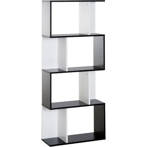 HOMCOM Particle Board 4-tier Storage Display Shelving Bookcase Unit Divider S Shape design