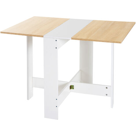HOMCOM Particle Board Wooden Folding Table Writing Desk Workstation Home Office - Oak, White