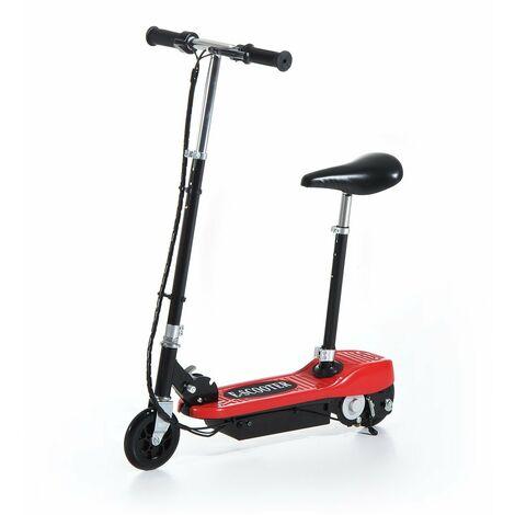 HOMCOM Patinete Eléctrico Niño Scooter Plegable Asiento Ajustable Carga 50kg Rojo