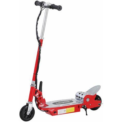 HOMCOM Patinete Eléctrico Niño Scooter Plegable Manillar Ajustable Carga 50kg Rojo