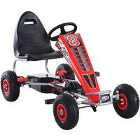 HOMCOM Pedal Go Kart Ride On Car w/ Wheels Adjustable Seat, Handbrake, Clutch