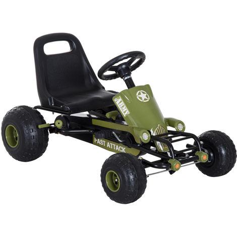 HOMCOM Pedal Go Kart Ride on Pedal Powered Kids Children Tyres Wheels Green