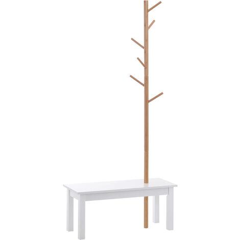 HOMCOM Perchero de Pie con Banco Colgador Tipo Árbol 6 Ganchos Bambú 80x30x180cm