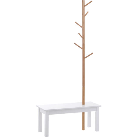 HOMCOM Perchero de Pie con Banco Colgador Tipo Árbol Moderno 6 Ganchos para Colgar Ropa Bolsa Pasillo Entrada Bambú y MDF 80x30x180cm
