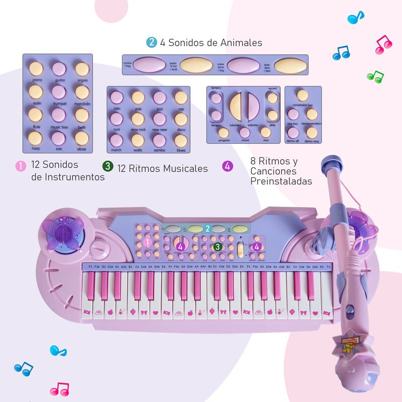 Con Y Electrónico Años Luces Regalo Para Niños 37 Educativo Teclado Piano Micrófono Taburete Teclas 22 Homcom Juguete Infantil Juego De hCxBtsQrd