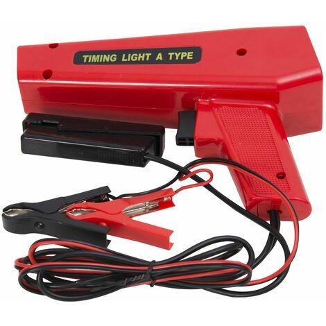 HOMCOM Pistola Estroboscopica 12V Motor Gasolina Lampara Xenon Punto de Encendido Rojo