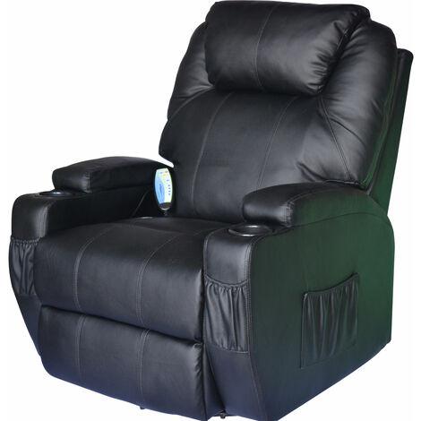 Poltrone Per Anziani Massaggianti.Homcom Poltrona Massaggiante Riscaldabile In Ecopelle Nero