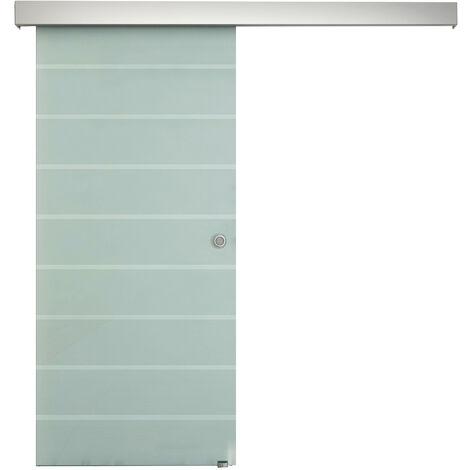 Homcom Porta in Vetro Smerigliato a Strisce con Binario 205 x 90 cm