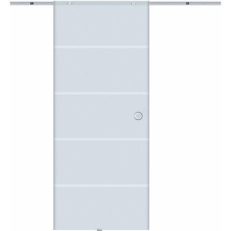 Homcom Porta Scorrevole con Binario in Alluminio in Vetro Satinato con Strisce Trasparenti, 90x205x0.8cm