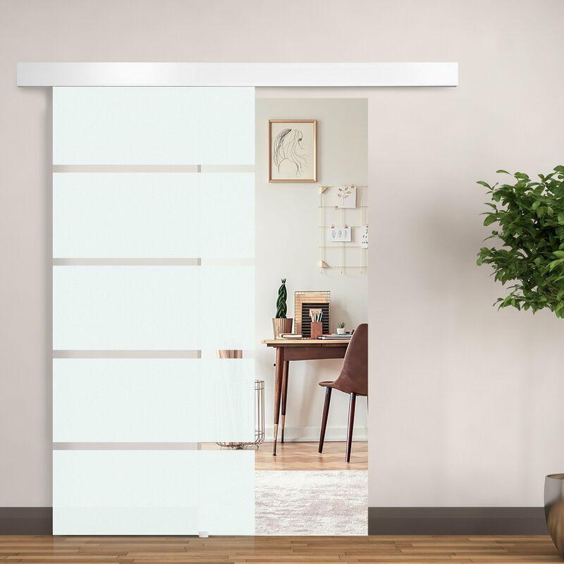 HomCom Porta scorrevole in Vetro con Binario e Maniglia, 90x205cm ...