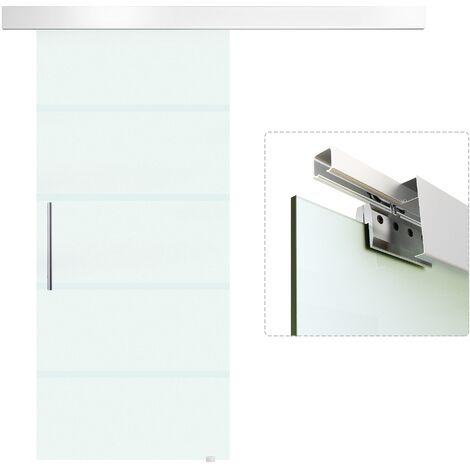 Binari Per Ante Scorrevoli In Vetro.Homcom Porta Scorrevole In Vetro Con Binario E Maniglia 90x205cm