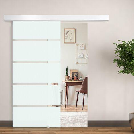 HomCom Porta scorrevole in Vetro con Binario e Maniglia, 90x205cm