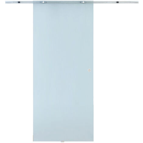Homcom Porta Scorrevole in Vetro Smerigliato con Binario in Alluminio, 90x205x0.8cm
