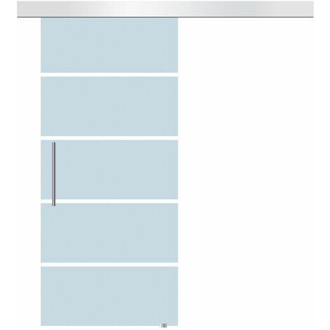 HomCom Porta Scorrevole in Vetro temperato Smerigliato a Strisce, 102.5x205cm