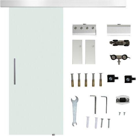 HomCom Porta Scorrevole in Vetro Temperato Smerigliato con Binario, 77.5x205cm
