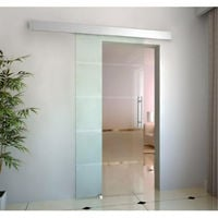 Homcom porta scorrevole vetro satinato 4 strisce trasparenti 102.5x205cm