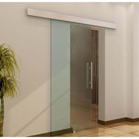 Homcom porta scorrevole vetro temperato satinato binario 90x205cm