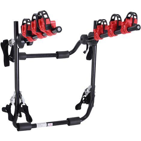 """main image of """"Homcom Portabici Posteriore per Auto Portata 3 Biciclette 40 kg in Acciaio e Alluminio Nero 68x52x60cm"""""""