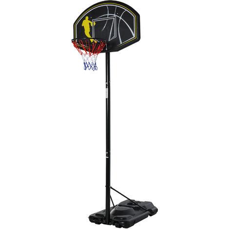 Homcom Portable Free Standing Basketball Stand Backboard Outdoor Adjustable (2.45m-3.05m) w/ Wheel