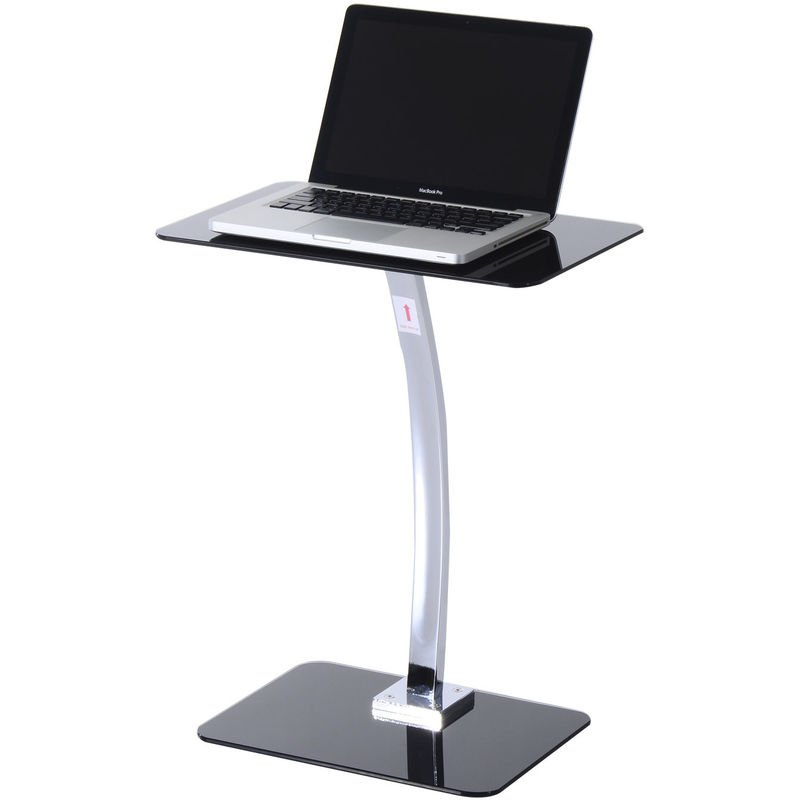 Homcom Portable Metal Laptop Stand Gl Top Side Table Presentation