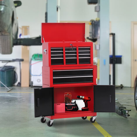 Homcom Portable Toolbox Tool Chest Box Roll Cab Cabinet Garage Storage