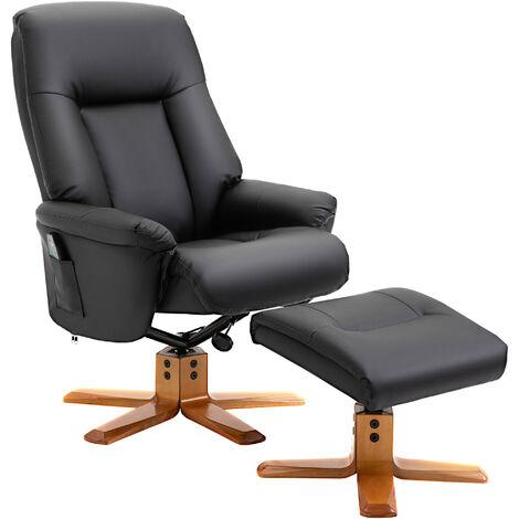 HOMCOM PU Leather 10-Point Heated Massage Armchair Recliner w/ Ottoman Black