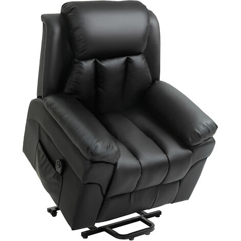 HOMCOM PU Leather Electric Rising Recliner Lift Assistance Chair w/ Remote Black