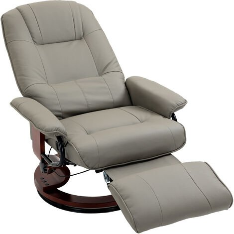 HOMCOM PU Leather Ergonomic Office Recliner Sofa Chair Plush Armchair Lounger
