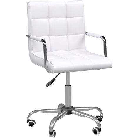 HOMCOM PU Leather Height Adjustable Office Computer Chair Bar Kitchen Stool - White
