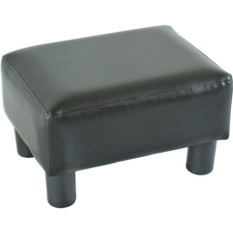 Homcom PU Leather Ottoman Footrest Seat Footstool Home Office Chair Small Black