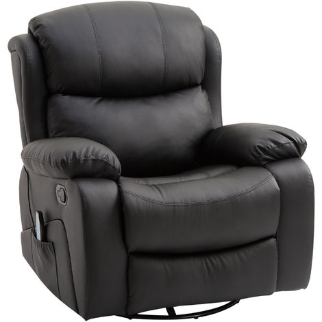 HOMCOM PU Leather Recliner Sofa Massage Chair Swivel Heated Rocking Cinema Seat - Black