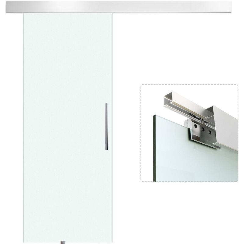 Homcom puerta corredera 205x90cm puertas vidrio corrediza - Puerta corredera cristal barata ...