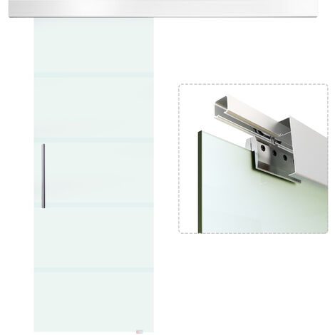 HOMCOM Puerta Corredera Cristal Puerta Deslizante de Vidrio 8mm Riel Alumino 75x210cm