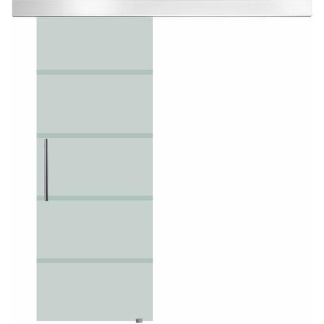 HOMCOM Puerta Corrediza de Vidrio Puerta Corredera Deslizante de Cristal 90x205 cm