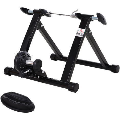 Homcom Quiet Indoor Bicycle Magnetic Foldable Turbo Trainer - Black, 26 - 27 Inch