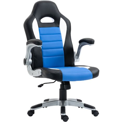 HOMCOM Racing Office Chair PU Leather Bucket Computer Chair Gaming Swivel Adjustable Desk Chair (Black & blue & white)