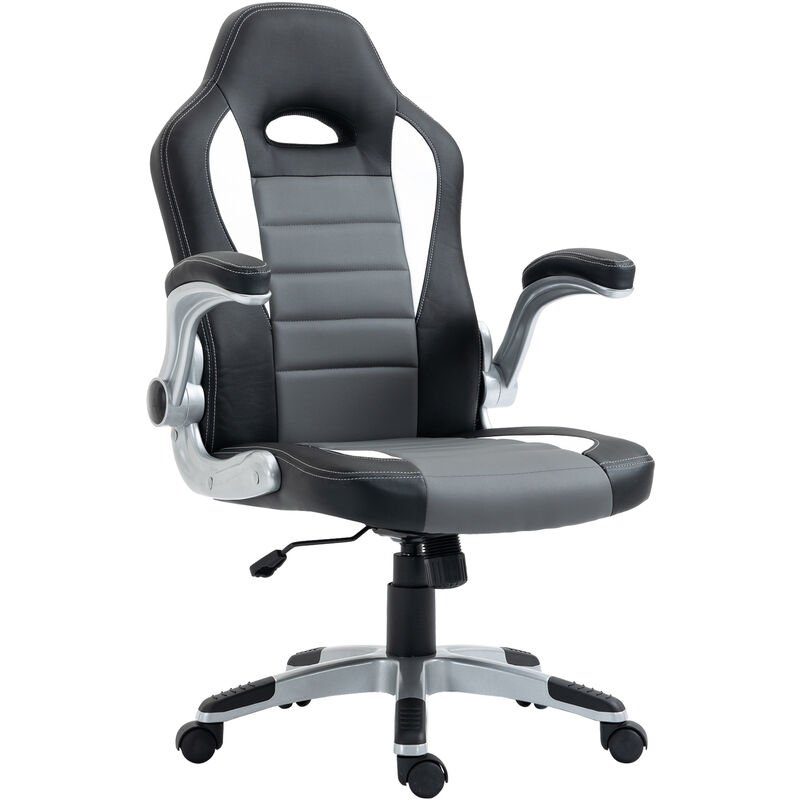 quality design a1b9c 6113d HOMCOM Racing Office Chair PU Leather Computer Chair Gaming Swivel Desk  Chair - Black & grey & white