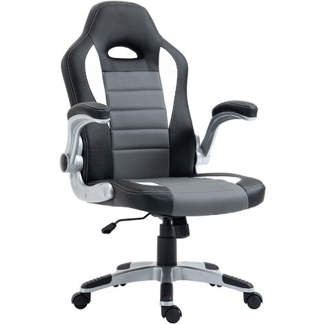 Homcom Racing Office Chair PU Leather Computer Chair Gaming Swivel Desk Chair - Black & grey & white