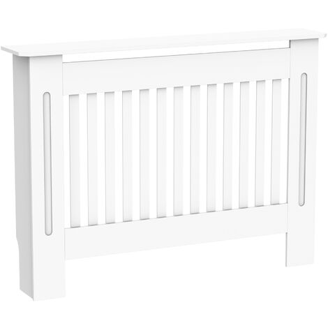 Homcom Radiator Cover Painted Slatted Cabinet MDF Lined Grill White