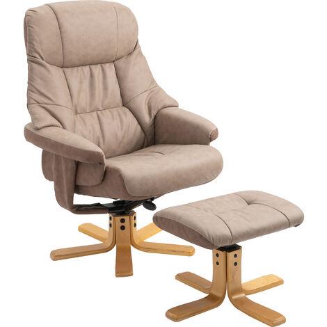 HOMCOM Recliner Armchair Footstool Duo Vintage Wood Base Home Seating Brown