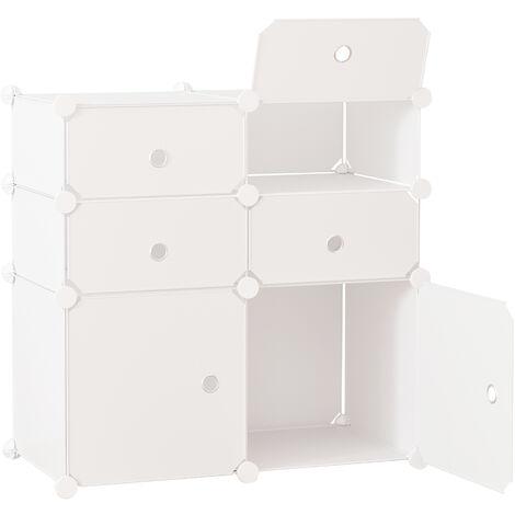 HOMCOM® Regal mit Aufbewahrungsboxen Schrank Kleiderschrank Weiß - weiß